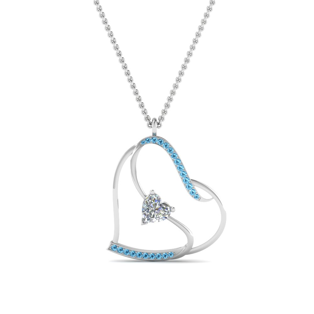 S With Heart Design Blue Topaz Pendant
