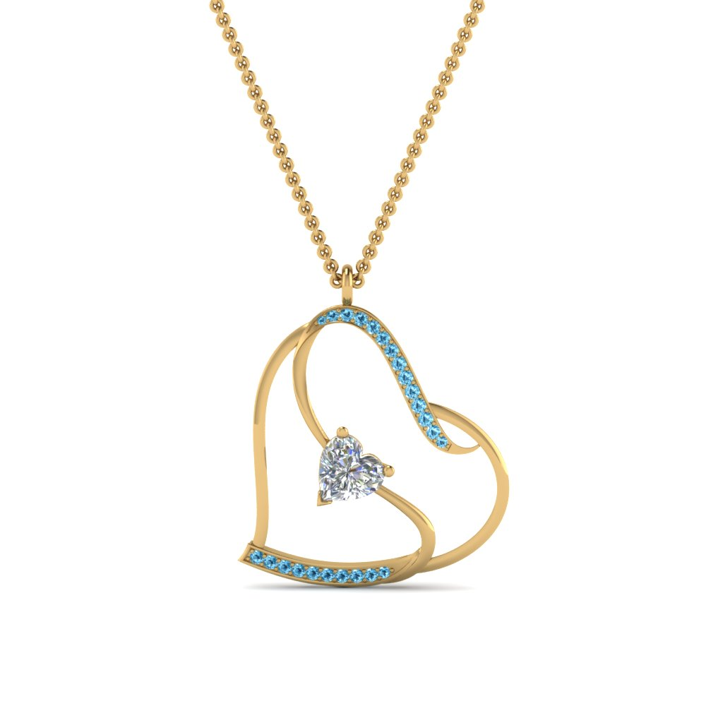 Heart Pendant Necklace With Topaz