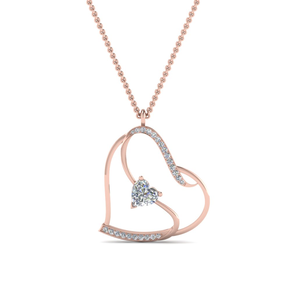s with heart design diamond pendant in FDPD8774ANGLE2 NL RG