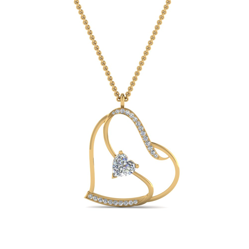 S With Heart Design Diamond Pendant