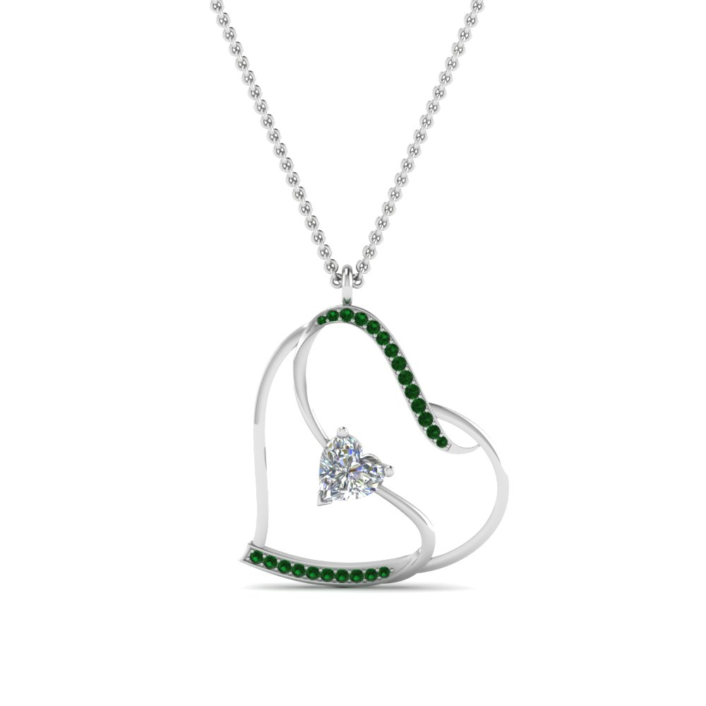 S with heart design emerald pendant in 14k white gold fascinating s with heart design emerald pendant in fdpd8774gemgrangle2 aloadofball Choice Image