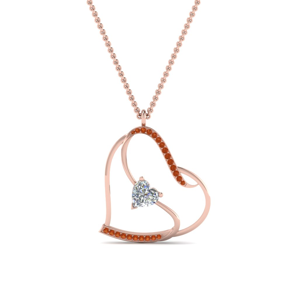 S with heart design orange sapphire pendant in 18k rose gold s with heart design orange sapphire pendant in aloadofball Gallery