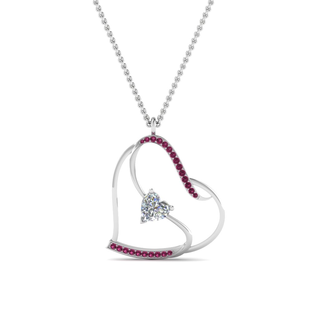 S With Heart Design Pink Sapphire Pendant