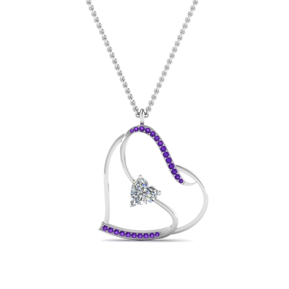 s with heart design purple topaz pendant in FDPD8774GVITOANGLE2 NL WG