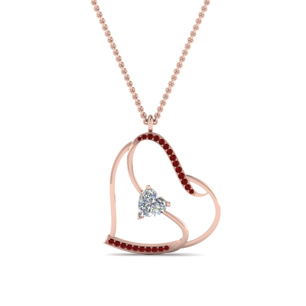 Ruby With Heart Diamond Necklace