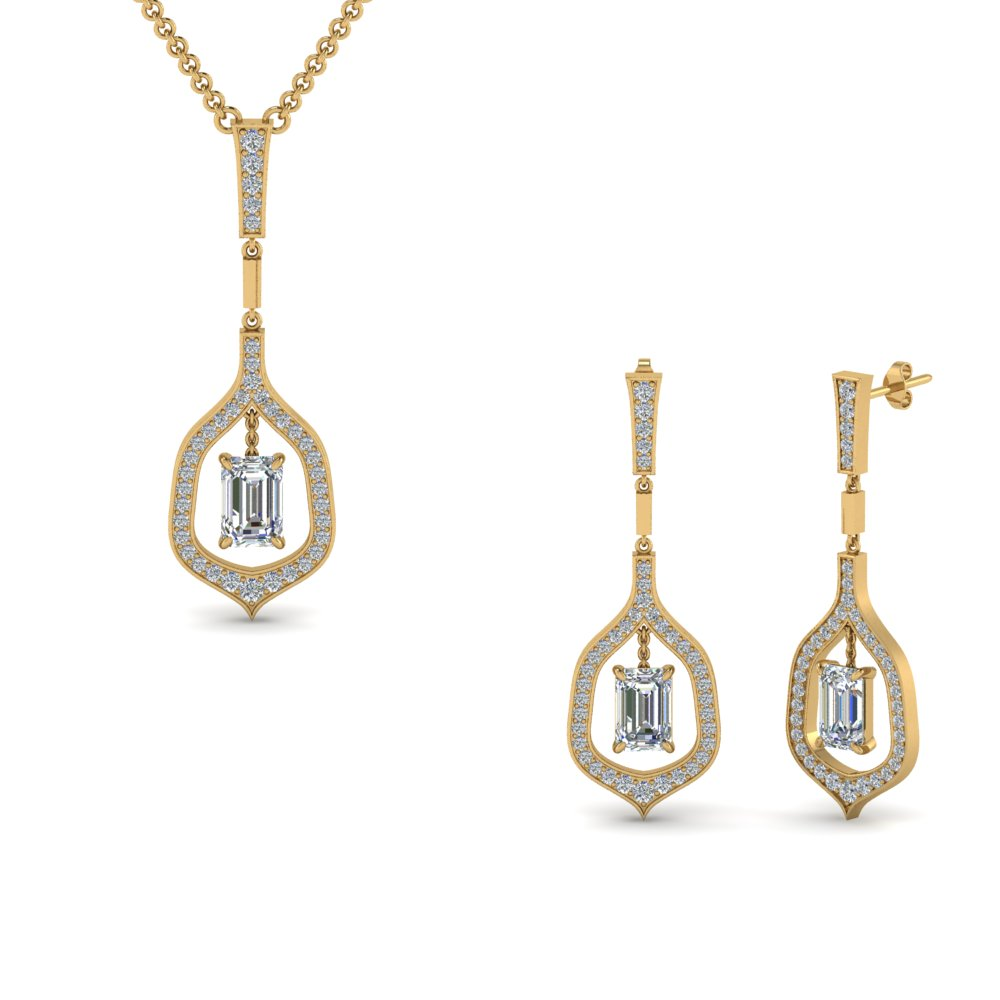 Pave Matching Diamond Pendant And Earring