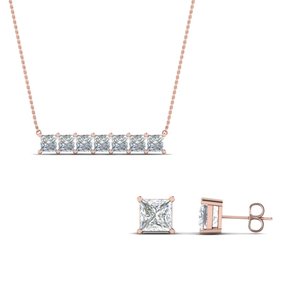 sale on princess cut earing with pendant set in 14K rose gold FD8540 NL RG
