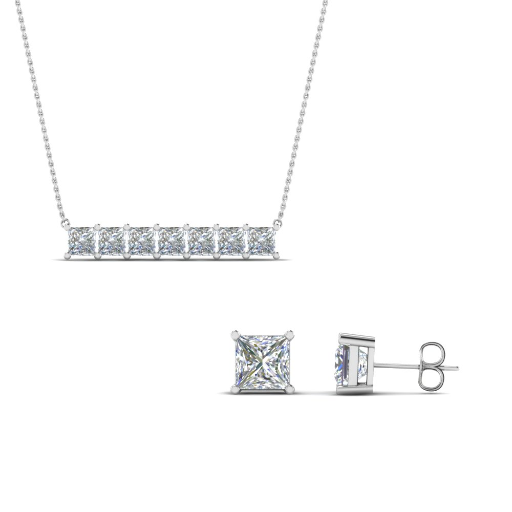 sale on princess cut earing with pendant set in 14K white gold FD8540 NL WG
