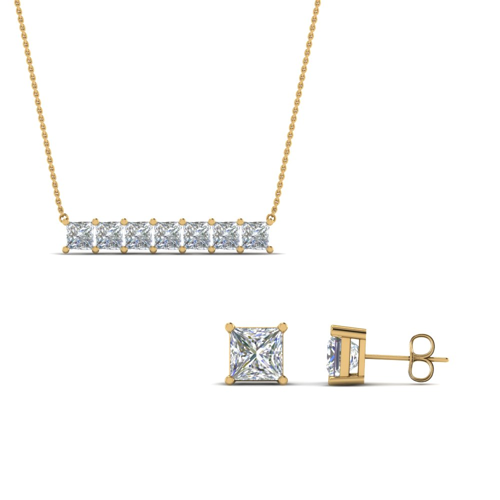 Princess Cut Earring With Pendant Set