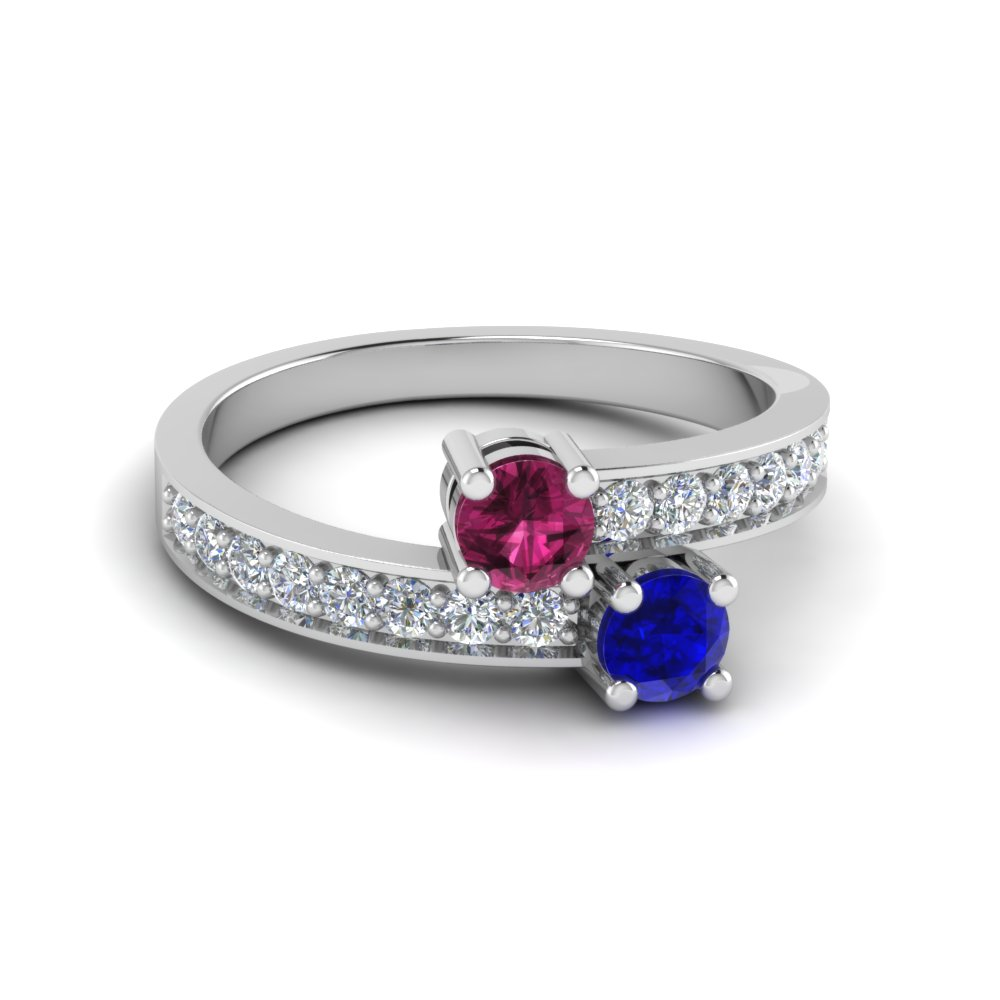 Sapphire 2 Stone Pave Wedding Ring