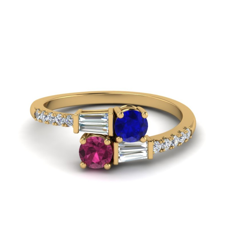 sapphire 2 stone ring with baguette in 14K yellow gold FD8437RORGBSPS NL YG