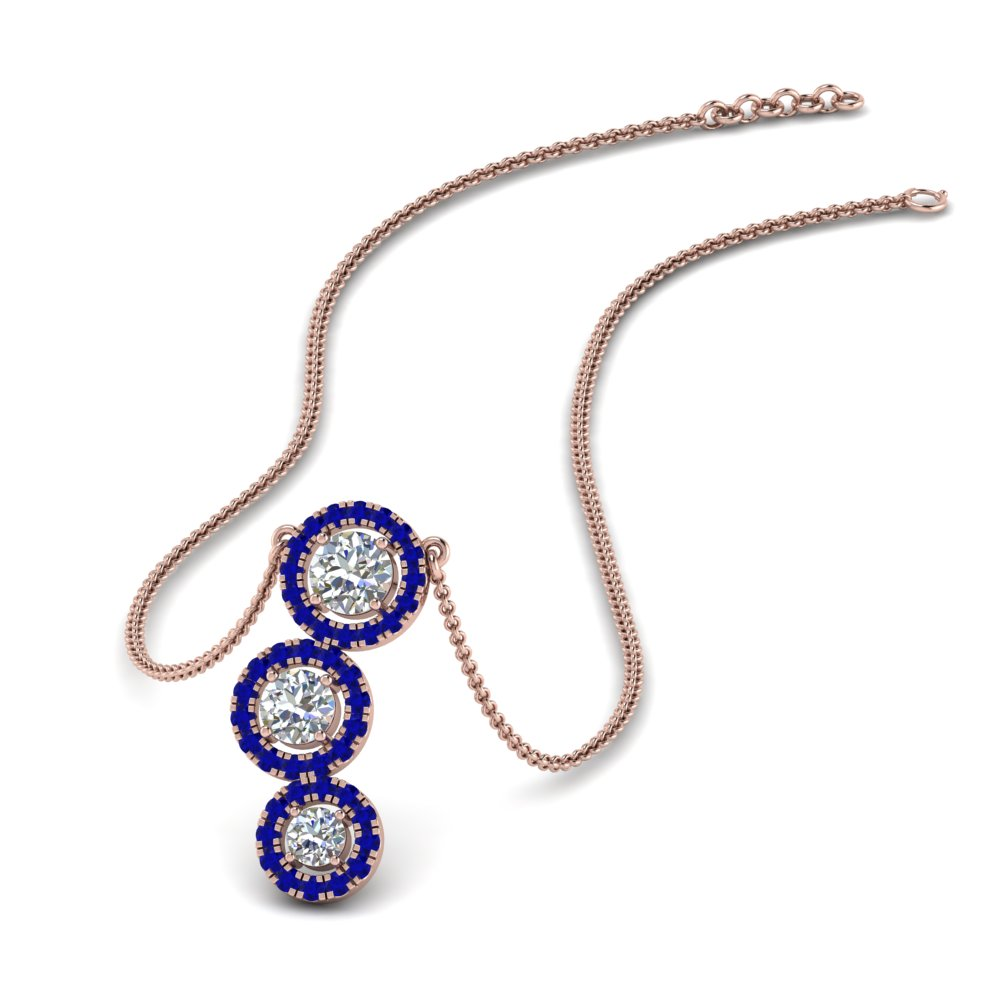 sapphire 3 halo diamond drop pendant in FDPD8962GSABL NL RG