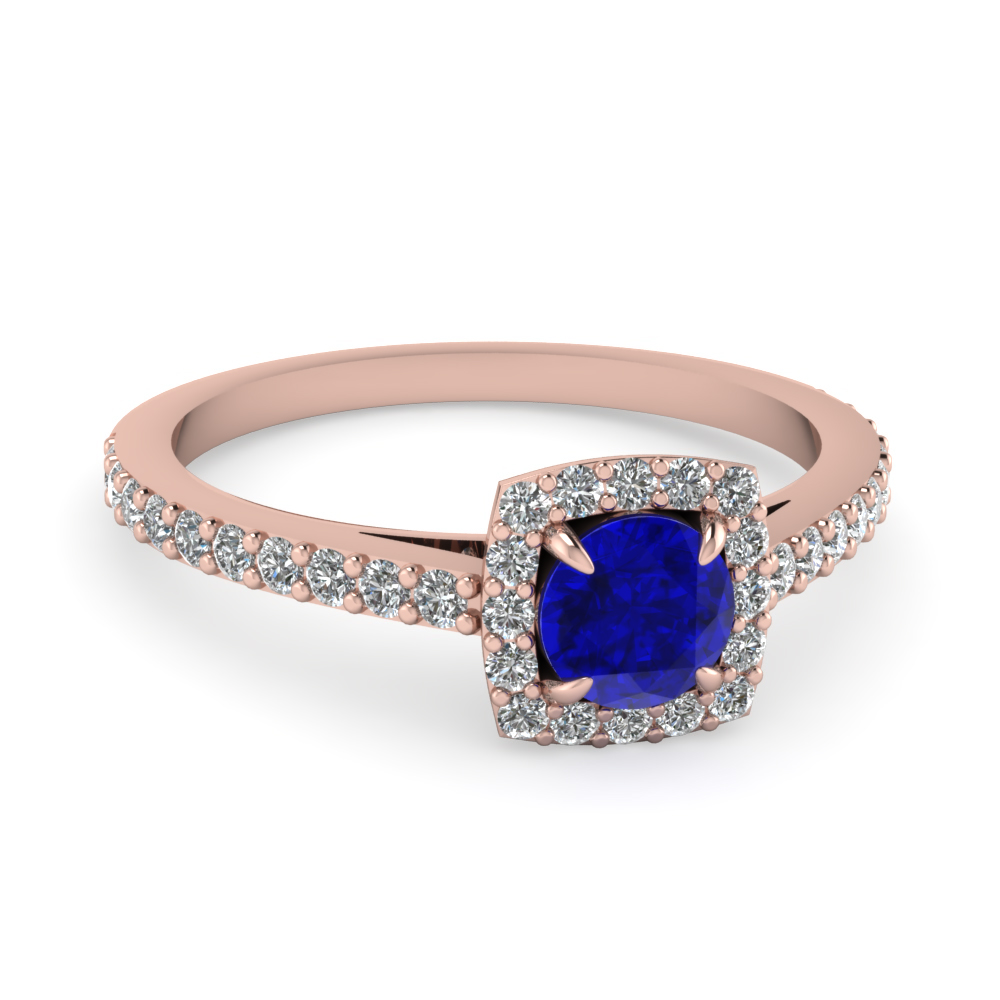Square Halo Diamond And Round Sapphire Engagement Ring in White Gold