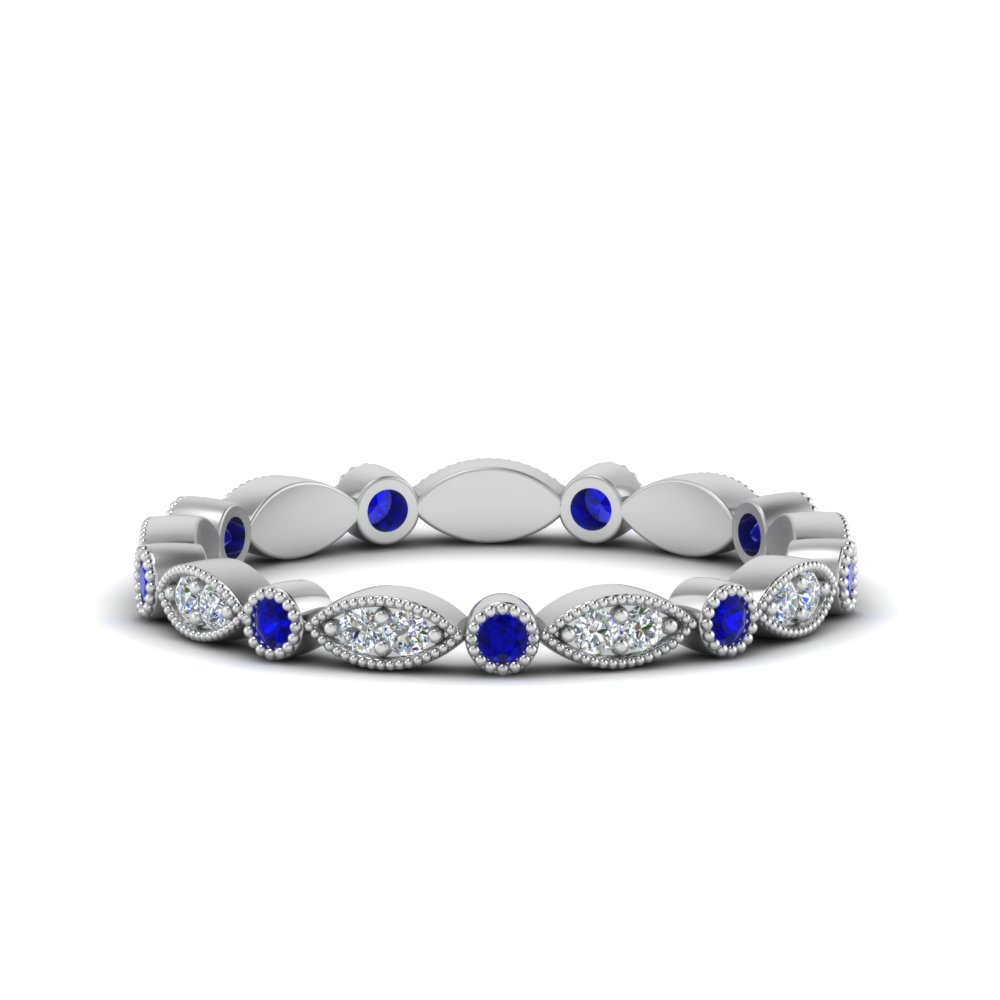 0.35 ct. sapphire  art deco diamond eternity band in FD8641BGSABL NL WG