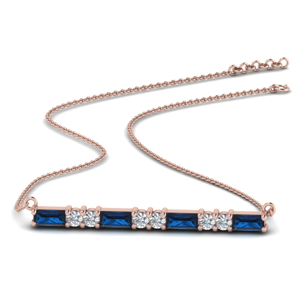 Sapphire Baguette Bar Diamond Necklace
