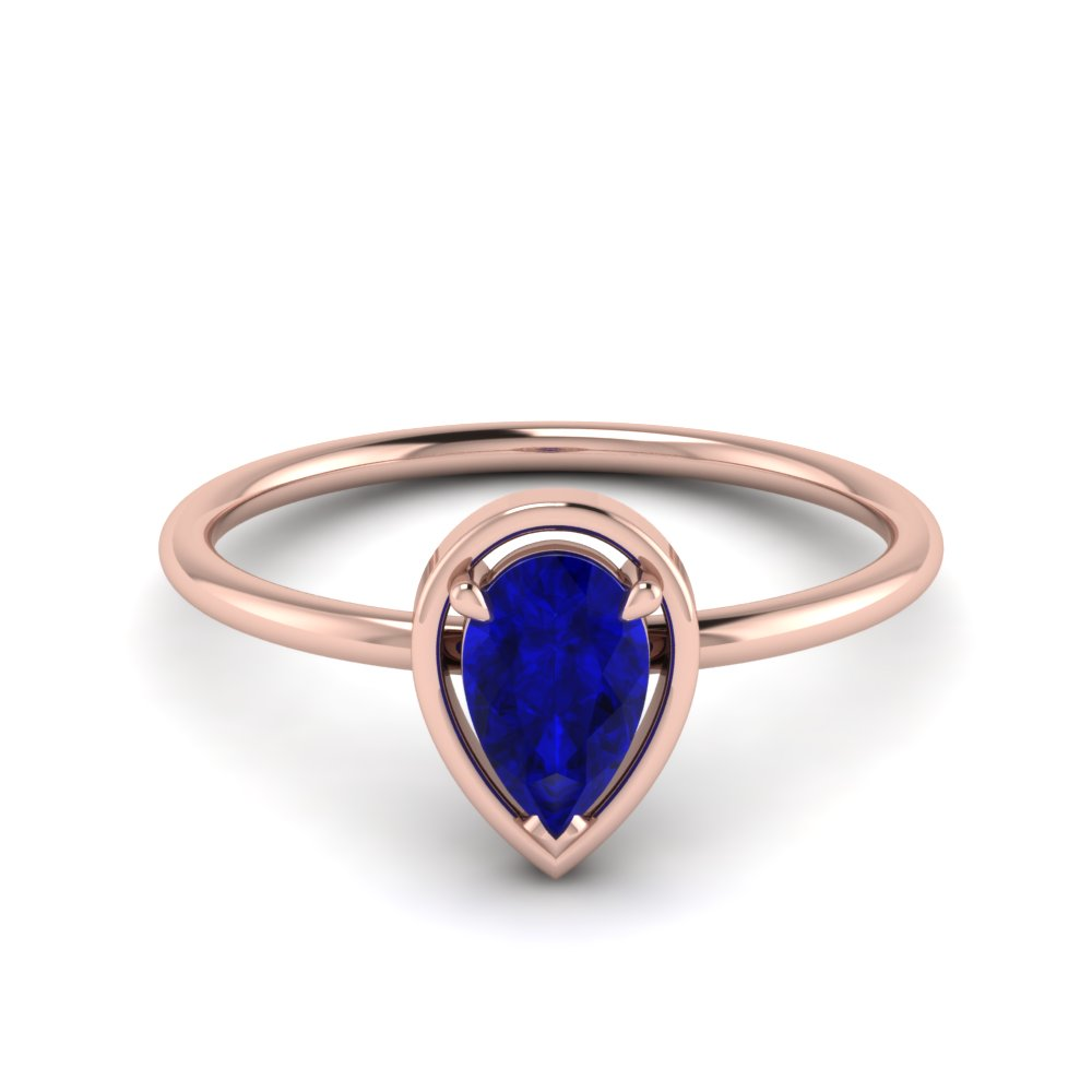 sapphire delicate pear solitaire engagement ring in FD9071PEGSABL NL RG