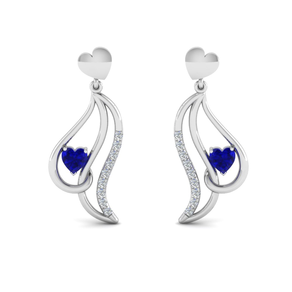 sapphire heart stud drop diamond earring for women in 950 platinum FDEAR8846GSABL NL WG