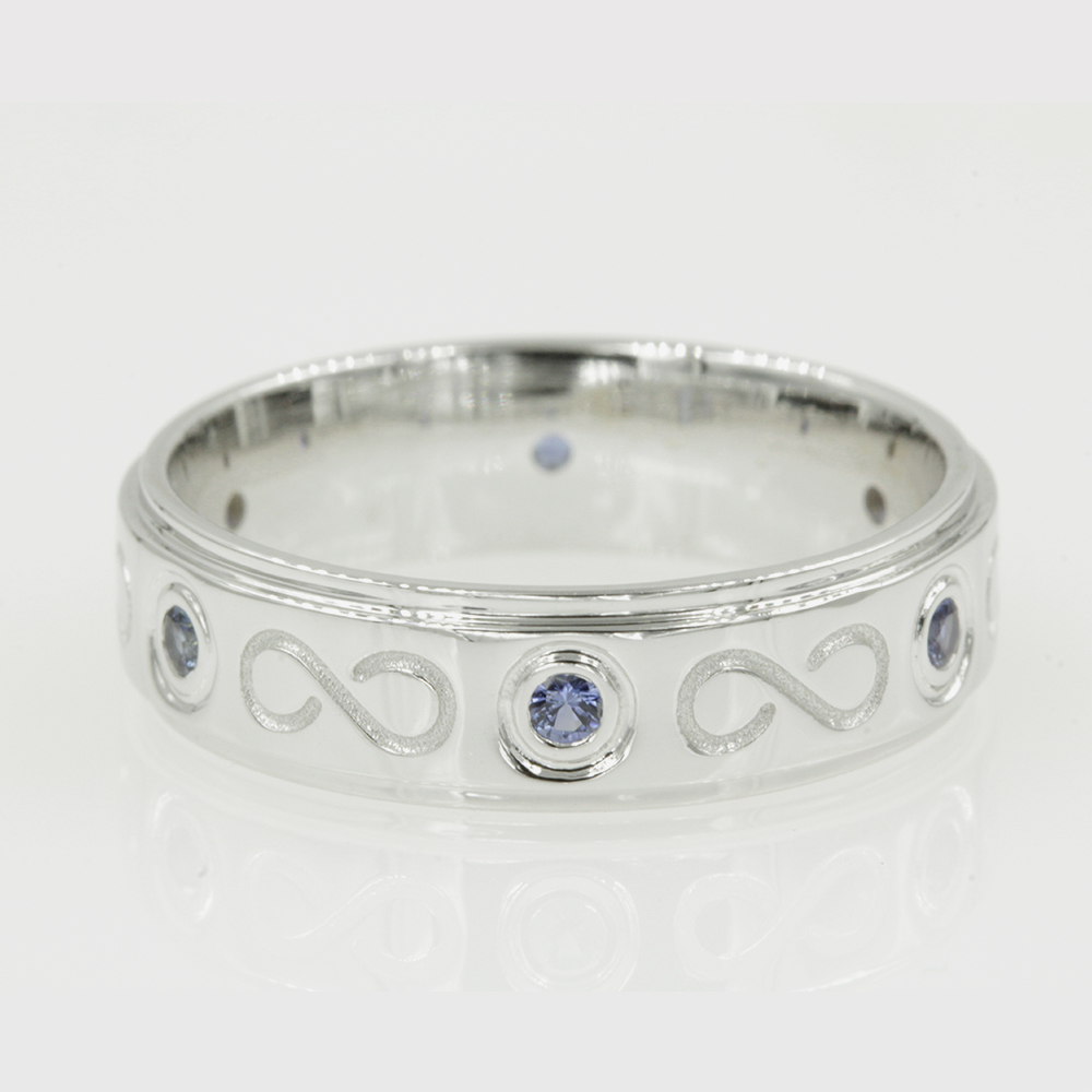 sapphire infinity wedding band in 18K white gold FDDB1284BGSABL