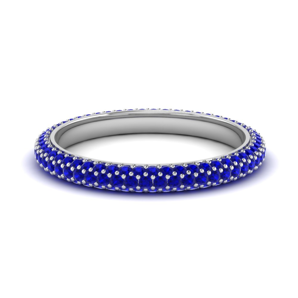 sapphire stackable vintage wedding band in 14K white gold FDEWB9202GSABL NL WG GS