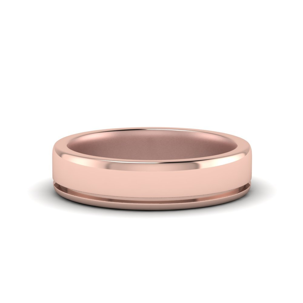 Satin Inlay Wedding Rings
