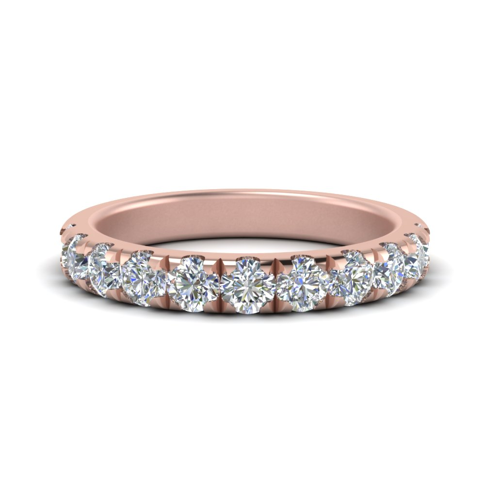 0 90 Ct Scalloped Diamond Half Eternity Wedding Band In 14k Rose