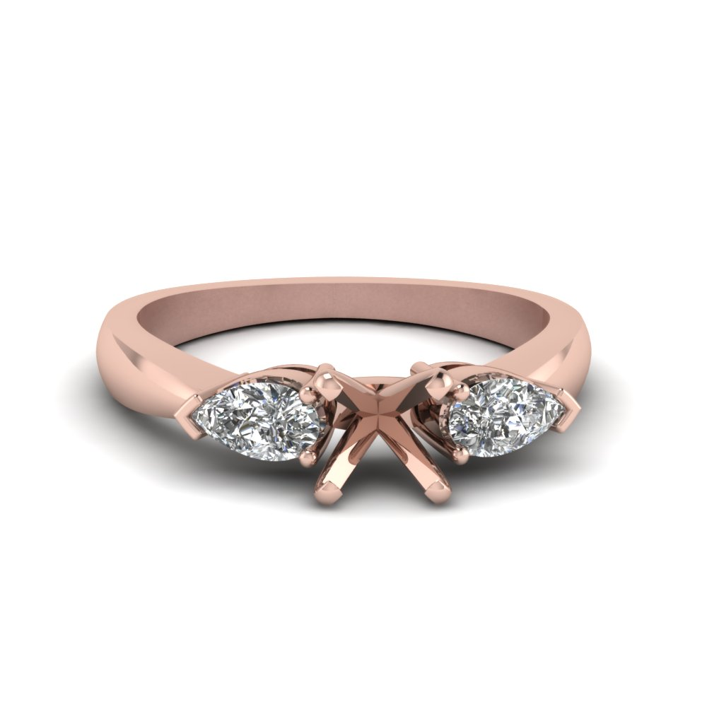 semi mount and pear diamond 3 stone engagement ring in 14K rose gold FDENR1603SMR NL RG