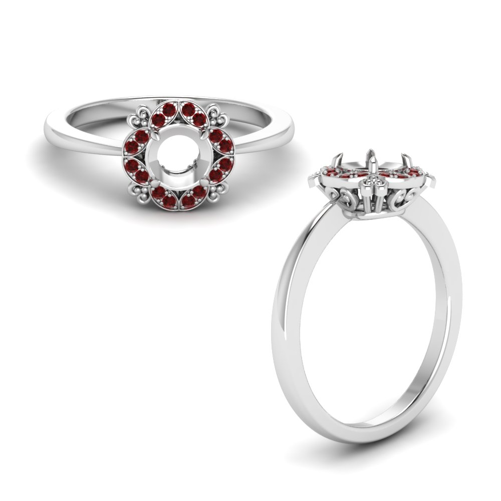Art Deco Petite Semi Mount Engagement Ring With Ruby In 14K White Gold
