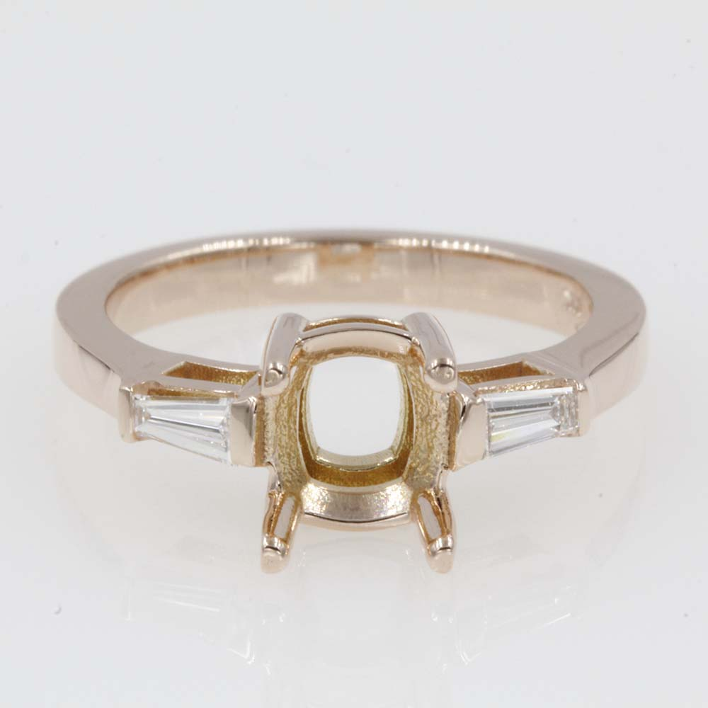 semi mount baguette 3 stone ring in FDENS100SMR