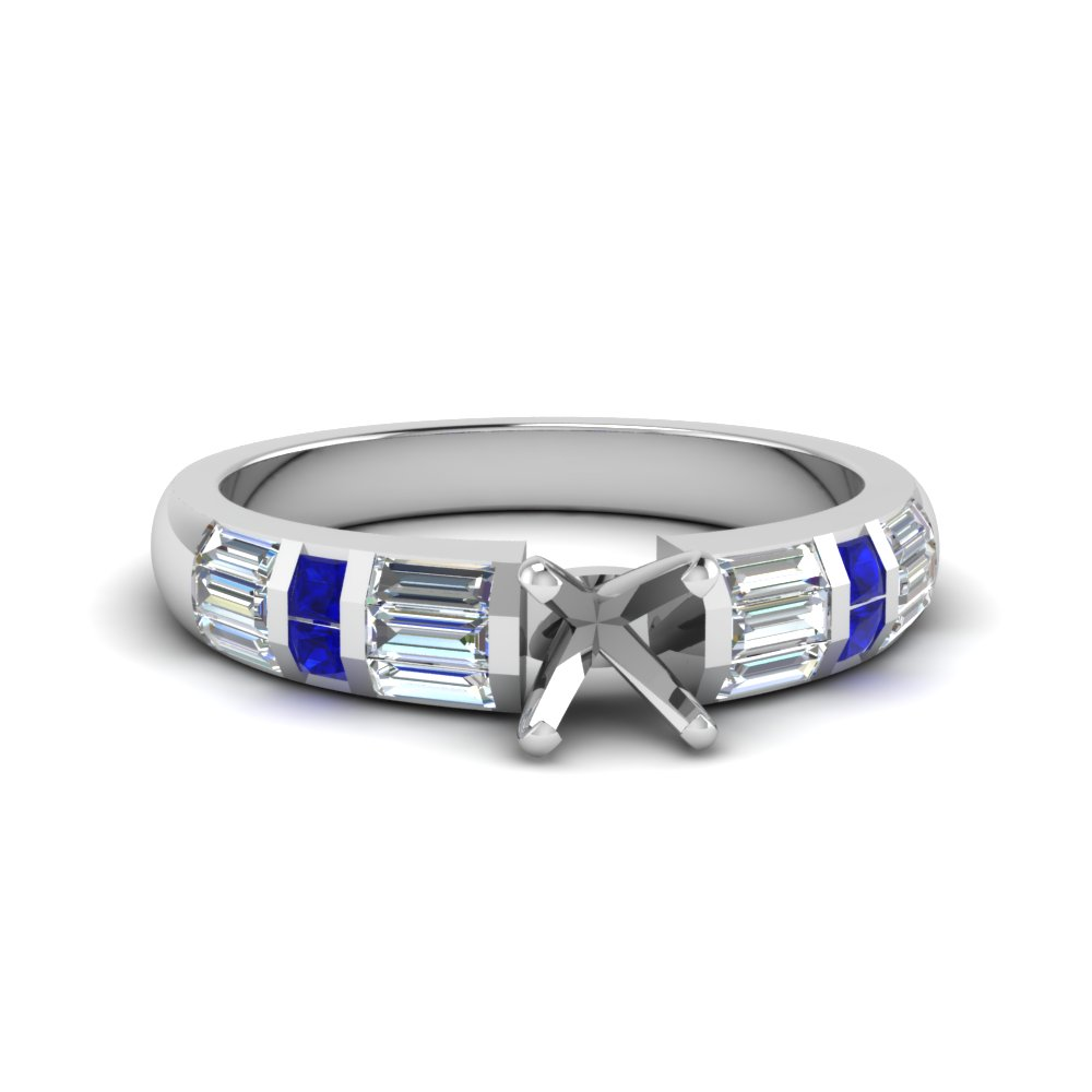 Baguette Accent Sapphire Ring Setting