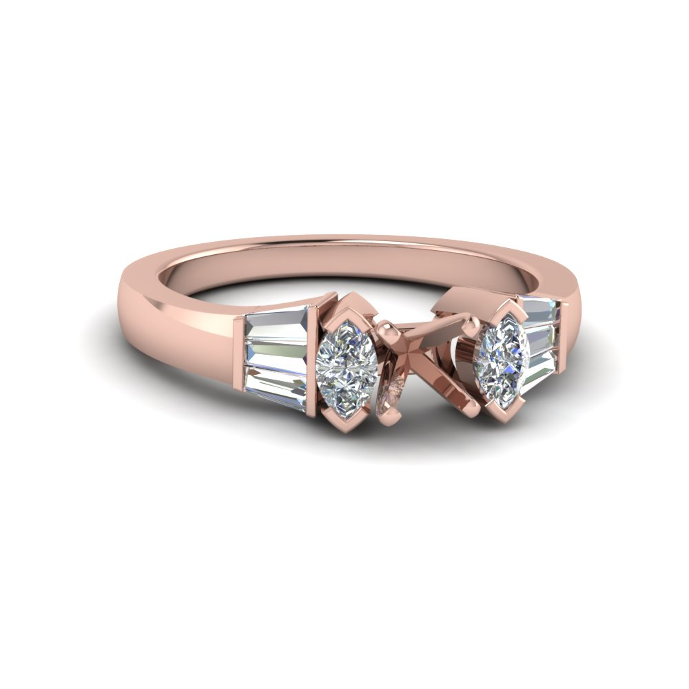 semi mount baguette bar diamond engagement ring in 14K rose gold FDENR1120SMR NL RG