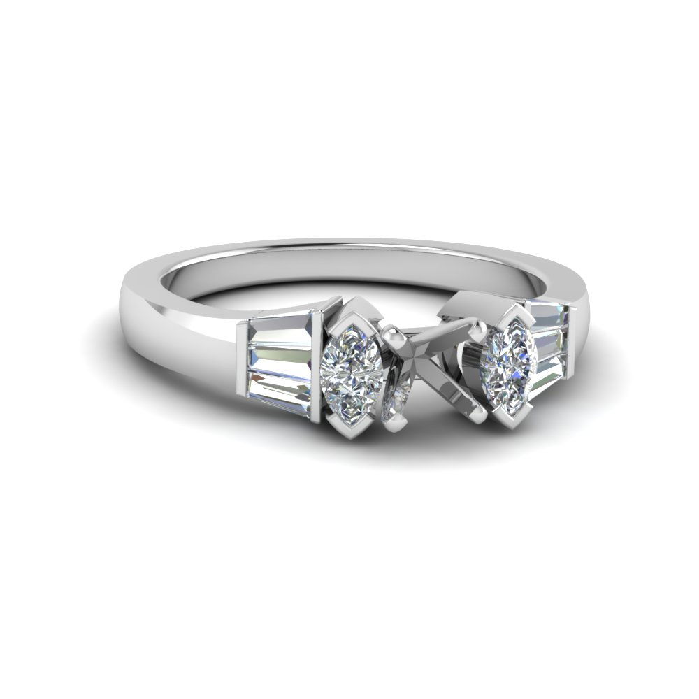 semi mount baguette bar and marquise diamond engagement ring in FDENR1120SMR NL WG
