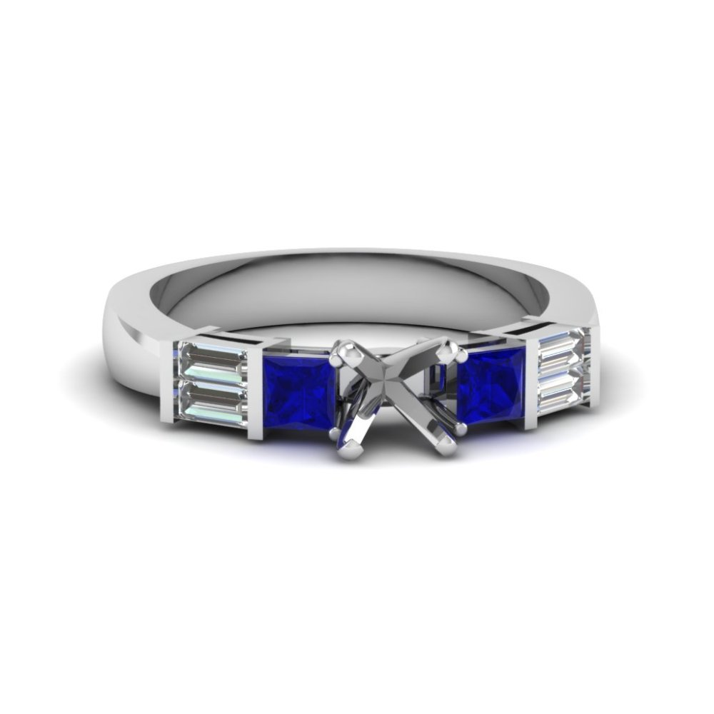 semi mount bar set baguette and princess diamond engagement ring with blue sapphire in 950 Platinum FDENS343SMRGSABL NL WG