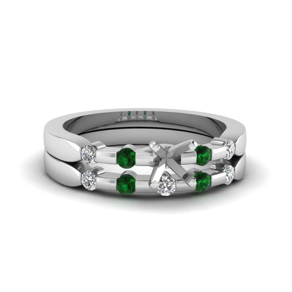 semi mount bezel diamond accent bridal set with emerald in 14K white gold FDENS3063SMGEMGR NL WG