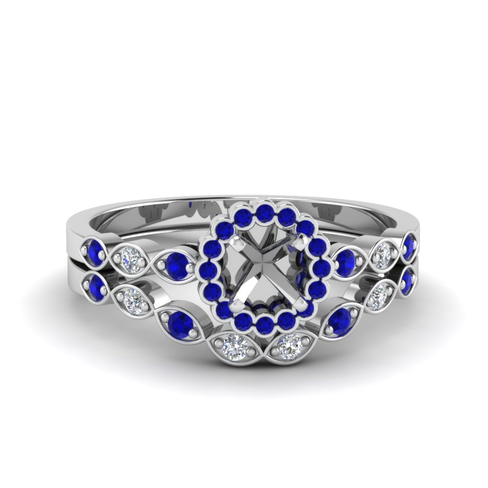 semi mount bezel halo diamond ring with sapphire matching band in 14K white gold FDENS3163SMGSABL NL WG