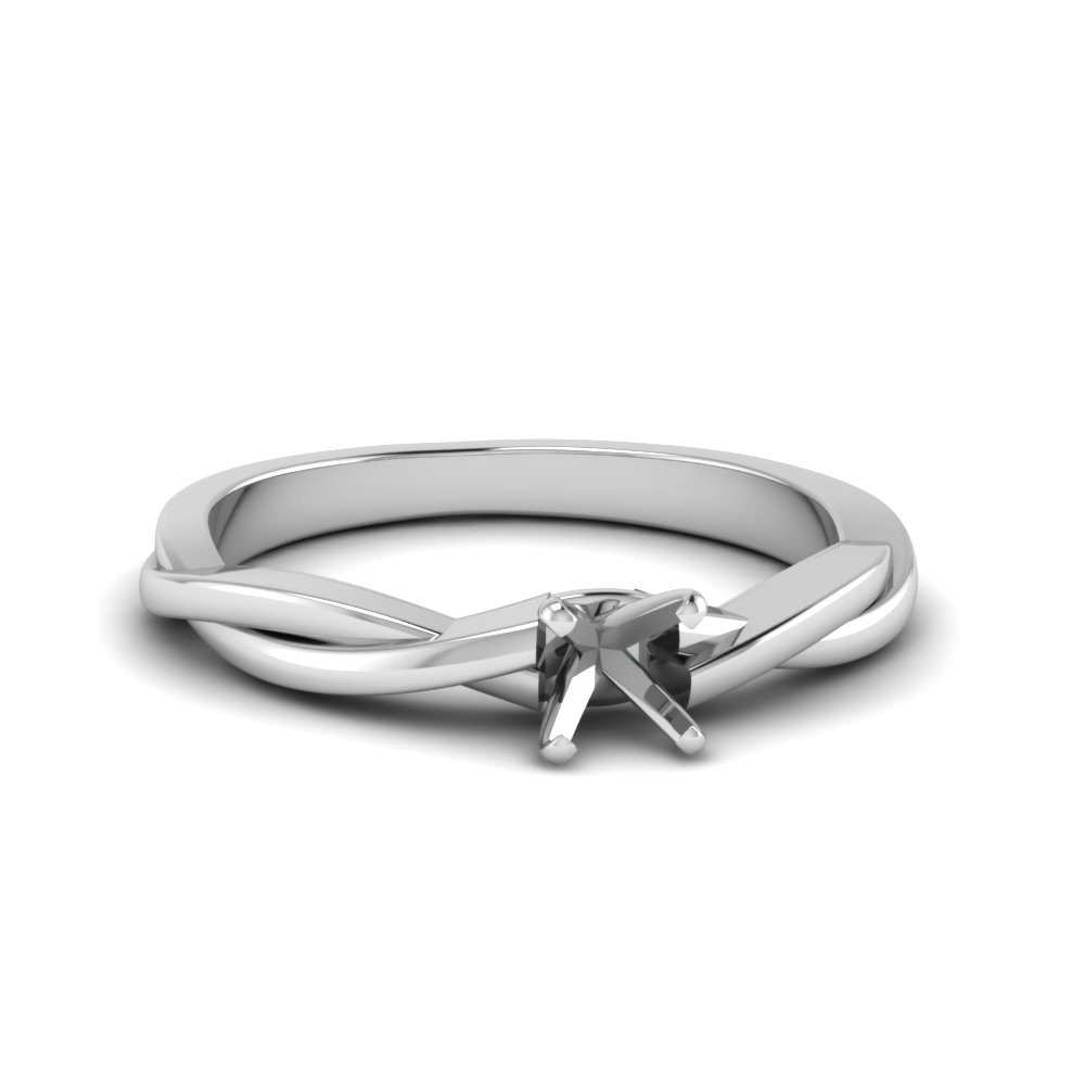 Braided Semi Mount Solitaire Ring