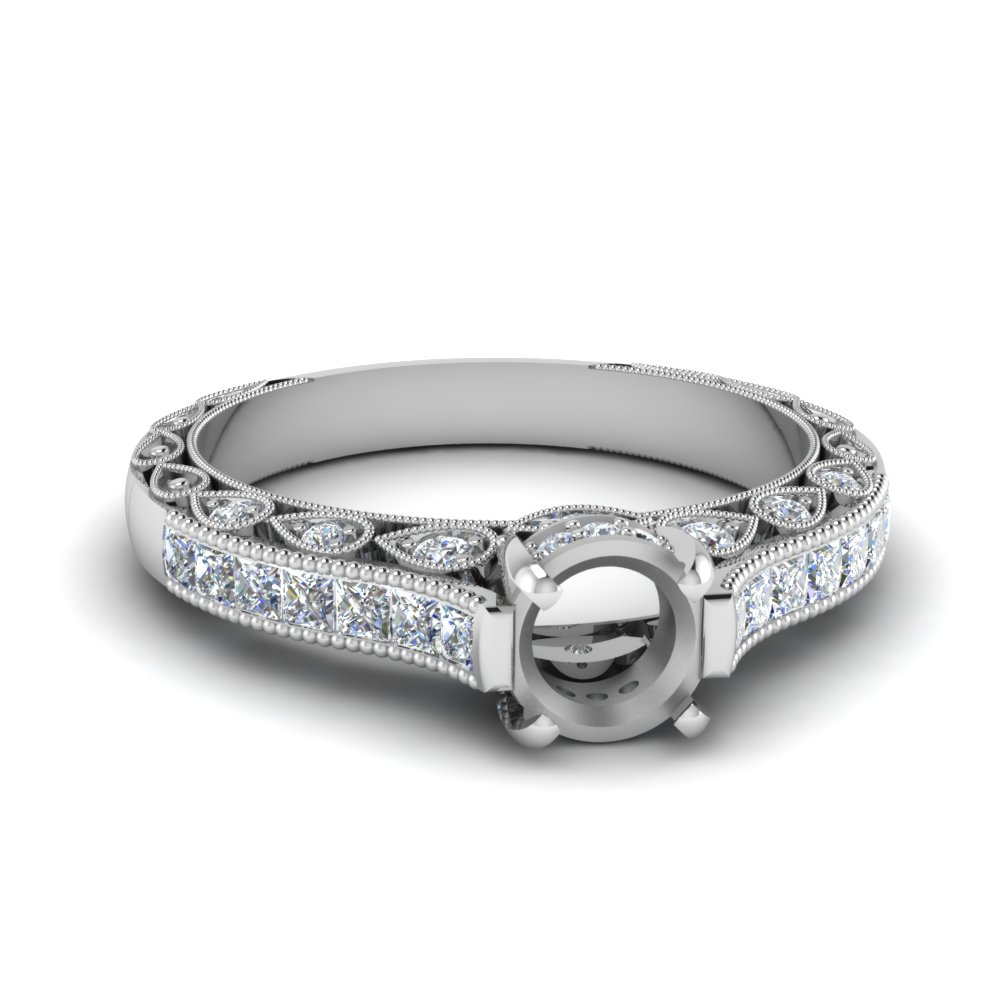 Milgrain Queens Crown Ring Setting