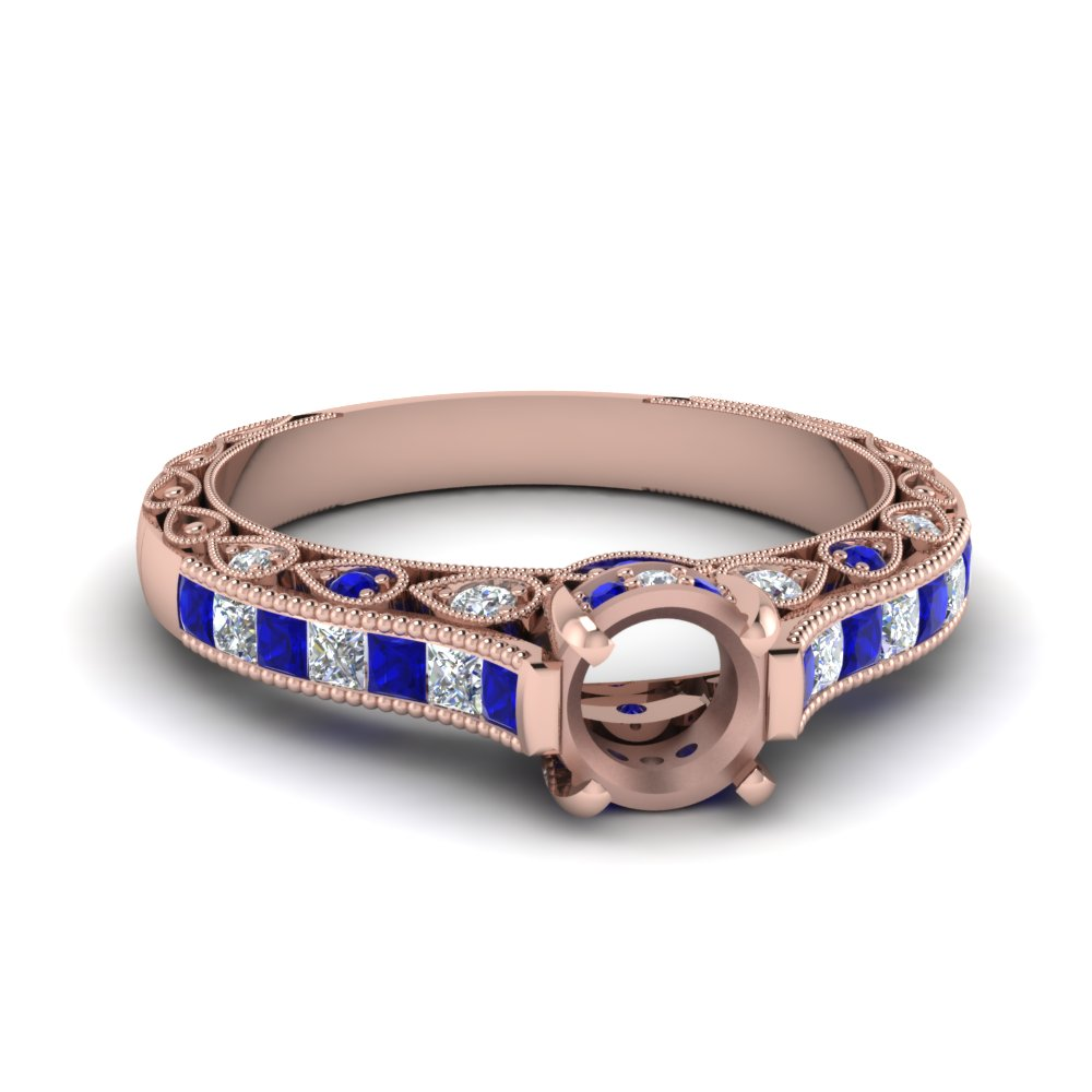 Milgrain Cathedral Sapphire Ring Setting