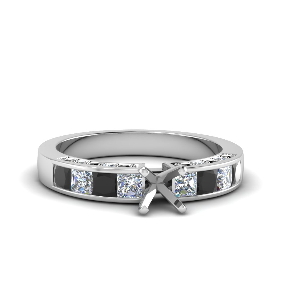 semi mount channel engagement ring with black diamond in 14K white gold FDENS198SMRGBLACK NL WG