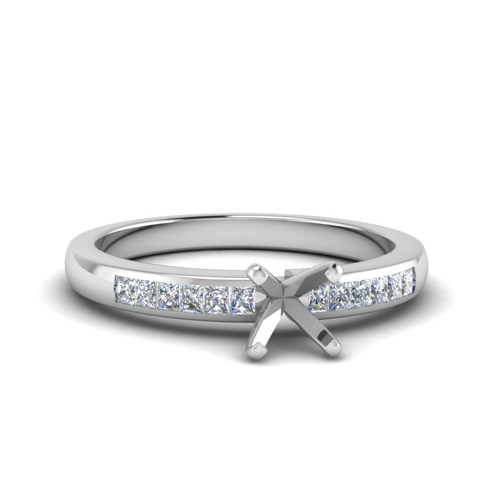 Channel Princess Cut Diamond Setting