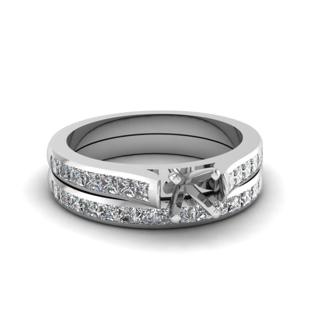 semi mount channel set diamond wedding ring sets in 14K white gold FDENS877SM NL WG 30