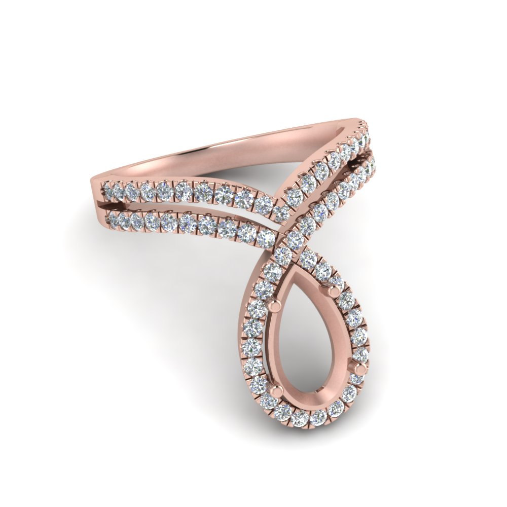 semi mount curve halo diamond engagement ring in rose gold FD9144SMRANGLE1 NL RG