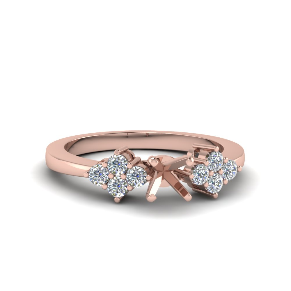 semi mount diamond accented curved engagement ring in 14K rose gold FDENS3082SMR NL RG