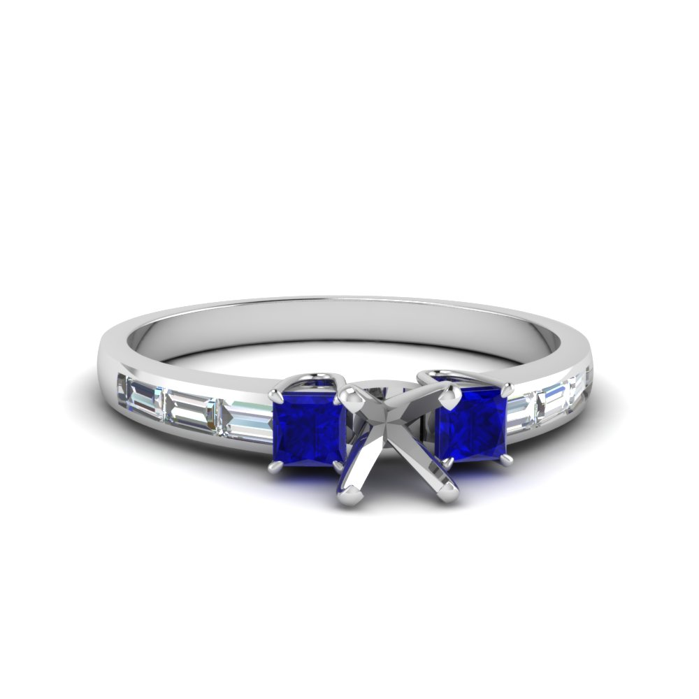 channel baguette 3 stone semi mount diamond engagement ring with sapphire in FDENS1021SMRGSABL NL WG