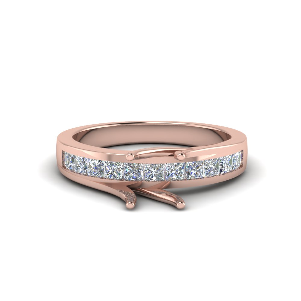 Pink Gold Diamond Ring Mountings Only