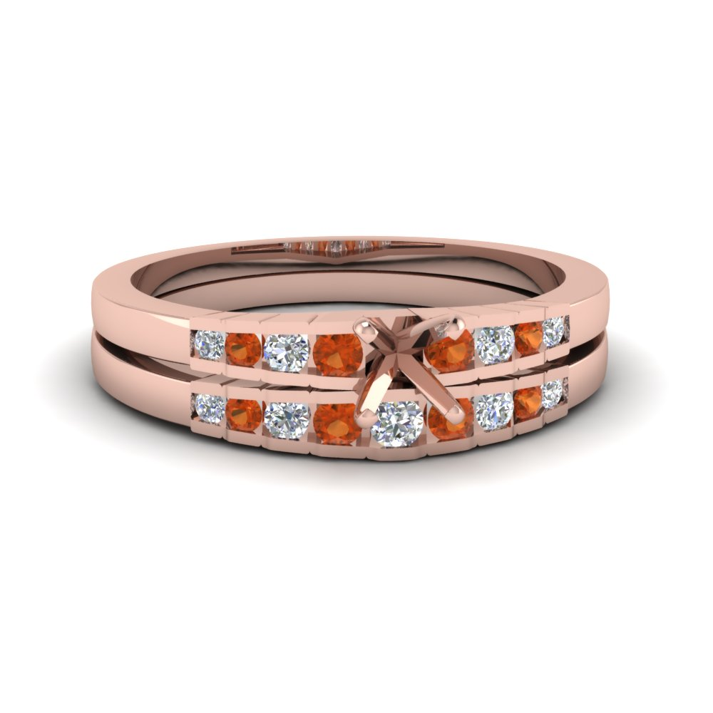 semi mount diamond graduated accent wedding set with orange sapphire in FDENS3116SMGSAOR NL RG