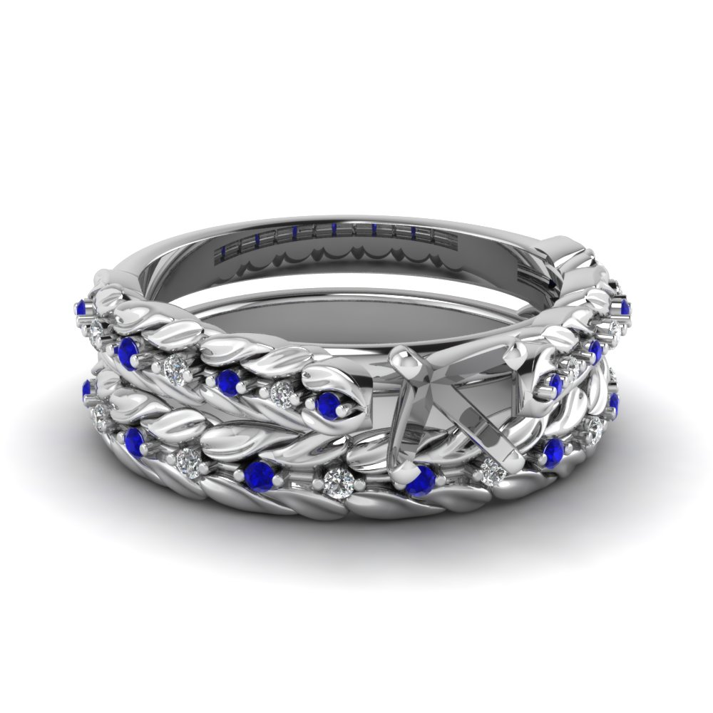 leaf design semi mount diamond wedding ring set with sapphire in FD8993SMGSABL NL WG