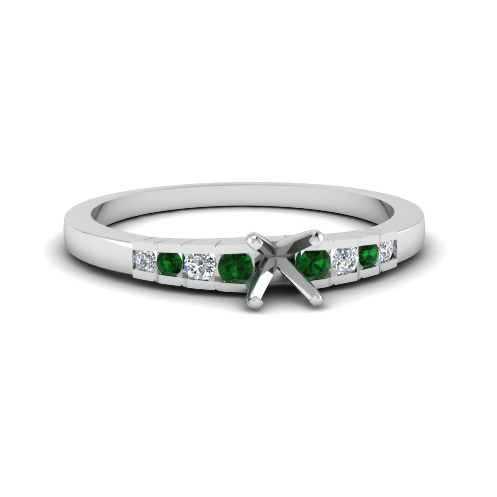 Platinum Semi Mount Emerald Ring