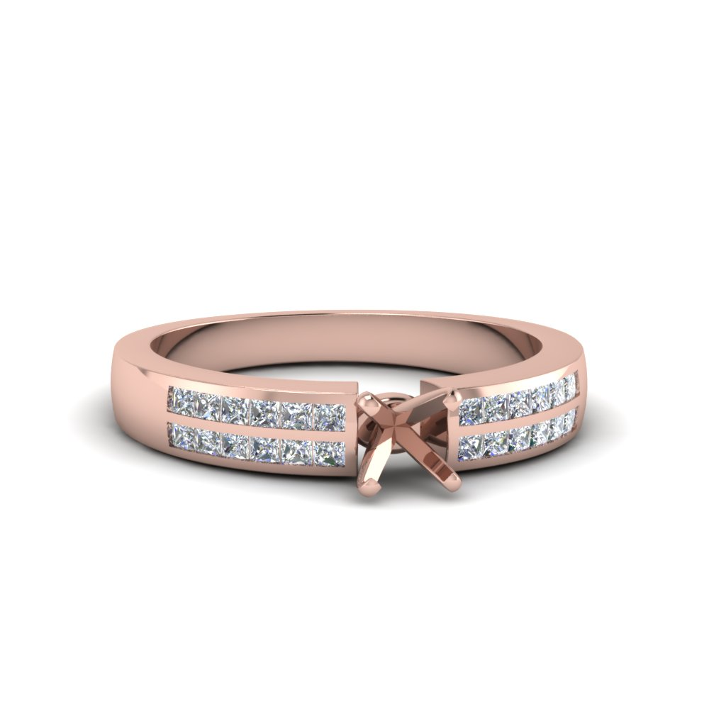 Pink Gold Engagement Ring Settings Only