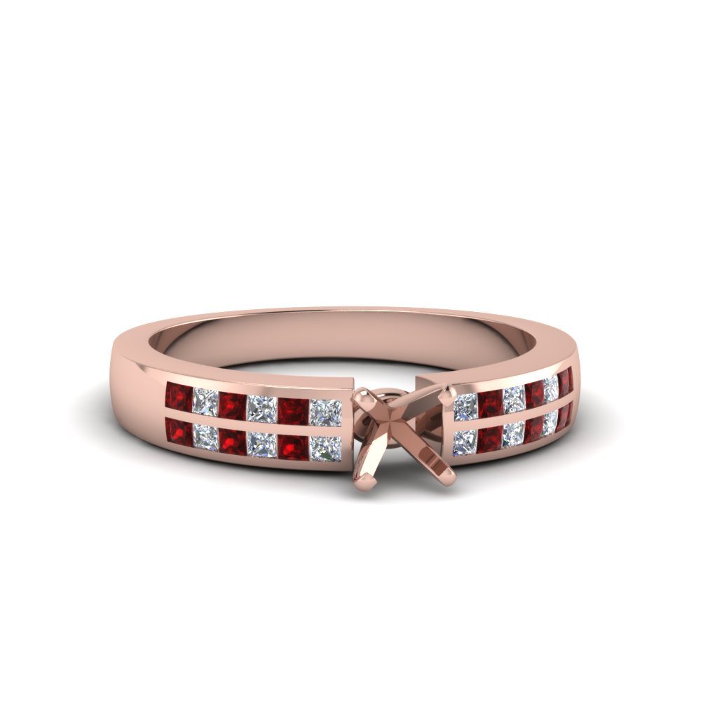 semi mount double row channel diamond wide ring with ruby in 18K rose gold FDENS3122SMRGRUDR NL RG