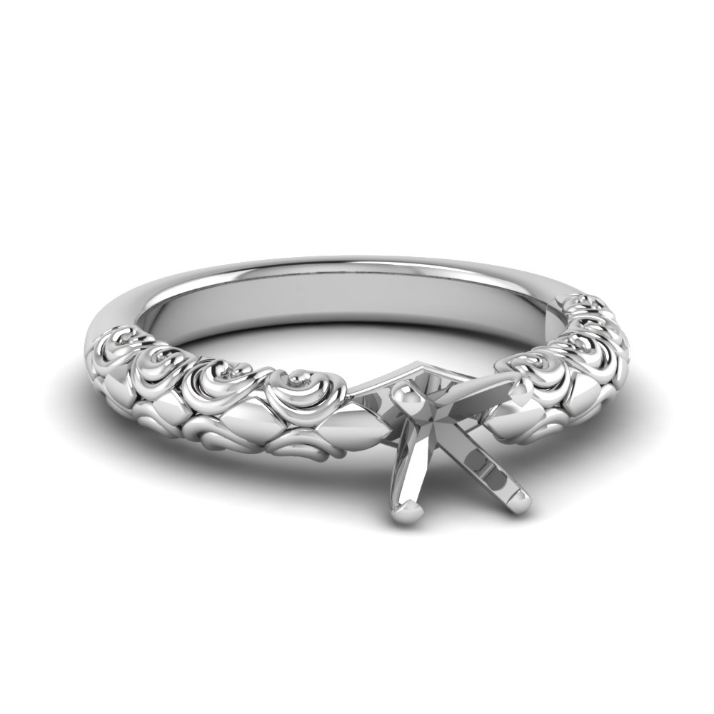 Platinum Filigree Ring Semi Mount